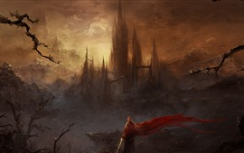 Preview wallpaper Fantasy world, art picture, castle, skyscrapers, mountains, sword, person