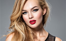 Preview wallpaper Fashion girl, blonde, hairstyle, blue eyes, look, makeup