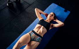 Preview wallpaper Fitness girl, gym, floor