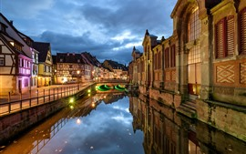 Preview wallpaper France, Colmar, houses, river, night, city, lights