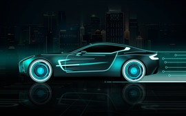 Preview wallpaper Future car, speed, neon, creative design