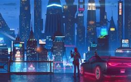 Future city, skyscrapers, lights, night, girl, art picture