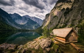 Preview wallpaper Germany, Bavaria, mountains, lake, house