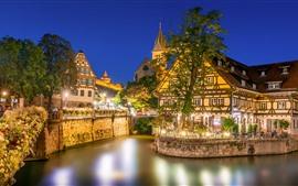 Германия, Эсслинген, река, дома, деревья, ночь, огни