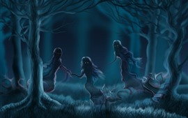 Preview wallpaper Ghosts, forest, fog, art picture
