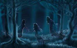 幽霊、森、霧、アート写真