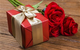 Gift, red roses, decoration