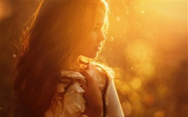 Preview wallpaper Girl, sun rays, hairstyle, warm, hazy