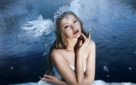 Preview wallpaper Girl, swan wings, decoration, art photography