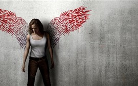Preview wallpaper Girl, wings, wall, creative photography