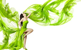 Preview wallpaper Green skirt girl, pose, white background, art photography