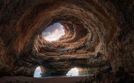 Preview wallpaper Grotto, rocks, hole, sea, nature landscape