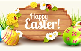 Preview wallpaper Happy Easter, eggs, flowers, spring, art picture