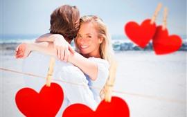 Garota feliz, sorriso, casal, corações de amor, romântico