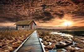Casa, caminho de madeira, lago, árvores, outono, pôr do sol