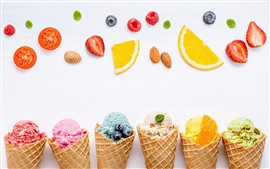 Preview wallpaper Ice creams, colorful, fruit slices