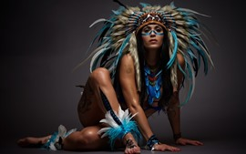 India girl, feathers, decoration, art photography