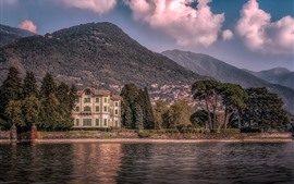 Preview wallpaper Italy, villa, trees, lake, mountains