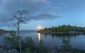 Preview wallpaper Lake Ladoga, Russia, trees, sunset, clouds