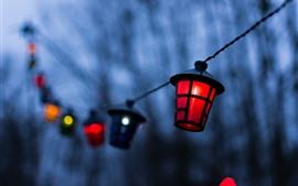 Lámpara, brumoso, anochecer