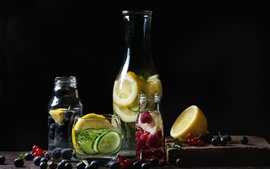 Preview wallpaper Lemonade, drinks, blueberry, lemon, raspberry, bottles