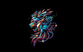 Leão, mecha, fundo preto, design criativo