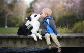 Preview wallpaper Little boy and dog, friends, child