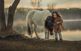 Preview wallpaper Little girl and pony, child