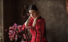Preview wallpaper Long hair girl, red skirt, look, tattoo