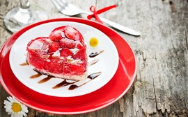 Preview wallpaper Love heart cake, romantic, strawberry