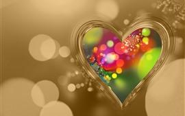 Aperçu fond d'écran Coeur d'amour, fond doré, cercles de lumière colorés