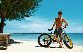 Preview wallpaper Man and bike, beach, sea, tropical