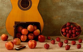 Preview wallpaper Many apples and strawberries, guitar