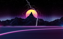 Preview wallpaper Mountain, sunset, lightning, art picture