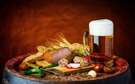 Aperçu fond d'écran Chope, bière, viande, nourriture, pain