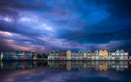 Нидерланды, город, дома, река, небо, облака, сумерки