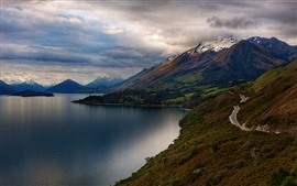 New Zealand, lake, mountains, road, clouds