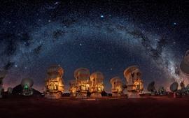 Noite, estrelada, telescópios de rádio