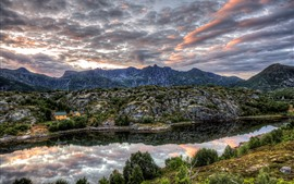 Preview wallpaper Norway, Nordland, mountains, stones, clouds, houses, river, dusk