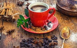 Preview wallpaper One red cup of coffee, coffee beans, powder, spoon