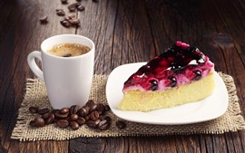 One slice of cake, coffee, coffee beans