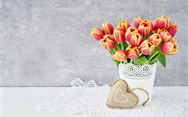 Preview wallpaper Orange tulips, bouquet, love heart