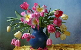 Preview wallpaper Pink and yellow tulips, blue vase