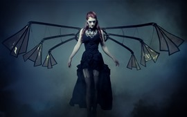 Preview wallpaper Purple hair girl, black skirt, wings, fog