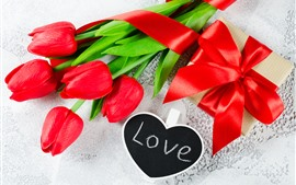 Red tulips, love, gift, romantic