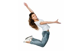 Smile girl, jump, pose, white background