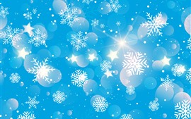 Preview wallpaper Snowflakes, stars, shine, blue background, creative picture