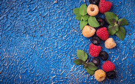 Preview wallpaper Some berries, blackberry, raspberry, blue background