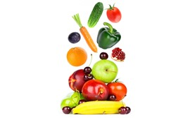 Some fruit and vegetables, white background