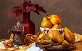 Preview wallpaper Some pears, tea, donut, still life